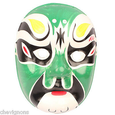 Traditional Chinese Beijing Opera Theater Hand Painted Facial Mask Makeup Green