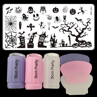 Halloween DIY Nail Art Stamping Template Image Plate Stamper & Scraper - Halloween Nail Design