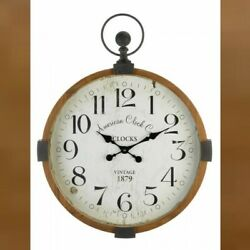 Accent Plus Large Round Wall Clock 30in Rustic Vintage Style Industrial