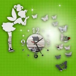 3D DIY Modern Style Butterfly Fairy DIY Mirror Wall Clock Wall Sticker Home Deco