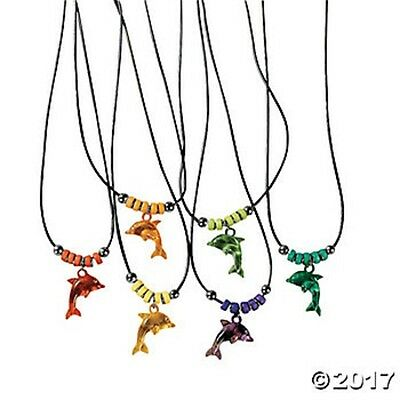 12 Leaping Dolphin Necklaces Bead Ocean Theme Luau Birthday Party Favors Gifts](Dolphin Birthday Party)