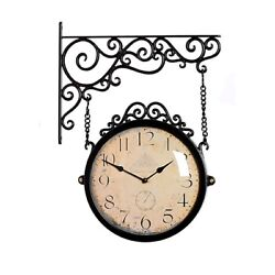 Antique Brown Double Sided Wall Clock Home Decor Modern Station Clock - M250BR