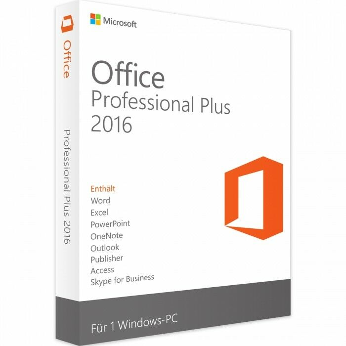 Microsoft® Office 2016 Professional Plus Lizenz + GRATIS Installation DVD