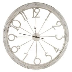 Huge Distressed White Vintage Cutout Wall Clock Stunning Piece Large Numbers New