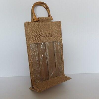 new Cadillac logo VINO SACK two bottle wine carrier bag—jute with wooden handles Bottle Jute Wine Bag