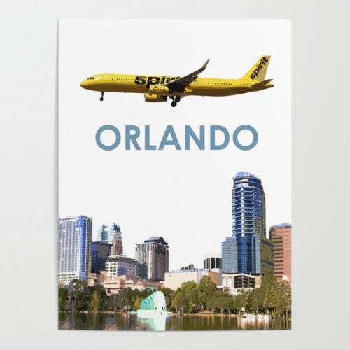 """Spirit Airlines A321 over Orlando Art - 18"""" x 24"""" Poster"""
