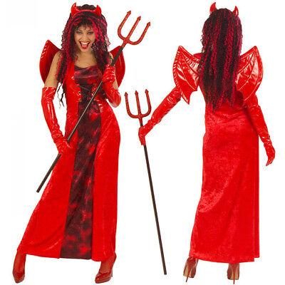 Damen Teufel Halloween-kostüm (DELUXE TEUFELIN KOSTÜM SET # Halloween Teufelskostüm Damen Teufel Kleid XS 5637)