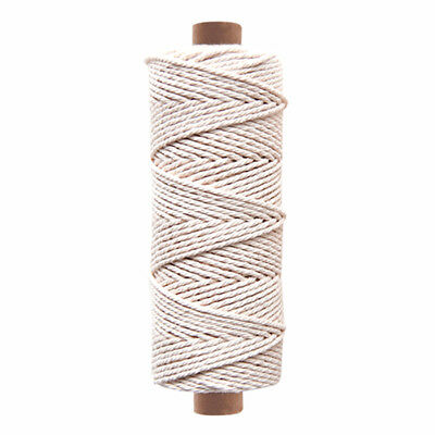 3mm - Natural White 3 Strand 100% Cotton Twisted Cord Rope Craft Macrame Artisan