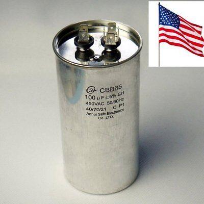 CBB65 Capacitor Motor Start Running for Air Conditioner Polypropylene Film 100uF Motor Running Capacitor