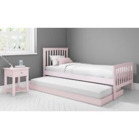 New Oxford Single Guest Bed in Pink - Trundle Bed Included