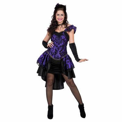 Burlesque Gothic Kostüm lila-schwarz Kleid Halloween Karneval - Lila Burlesque Kostüme