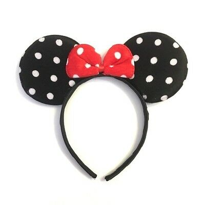 1 PC POLKADOT MICKEY MOUSE RED BOW EARS HEADBAND FITS MOST CHILDREN AND ADULTS](Black And Red Mickey Mouse Party Supplies)