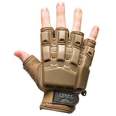 New Valken Paintball Airsoft Half Finger Gloves Protection Tan X-Large XL/2XL