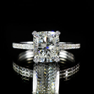 2.31ct 18K White Gold GIA Cushion Diamond Engagement Ring Vintage Style I/VS1
