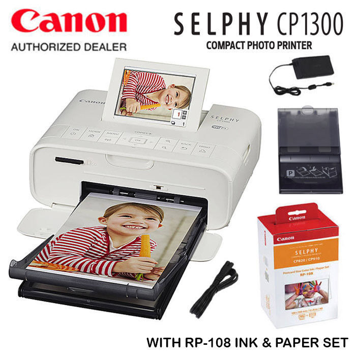 Canon SELPHY CP1300 Compact Photo Printer with RP-108 Ink/Pa
