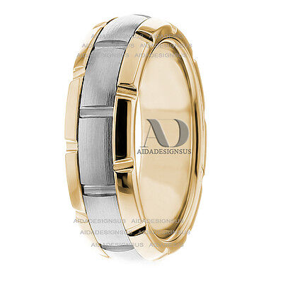 Solid 14K Gold Two Tone Watch Inspired Wedding Ring 6.5mm Handmade Wedding Band