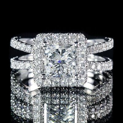 2.01ct Princess Center Split Shank Pave Diamond Engagement Ring H/VVS2 GIA Cert