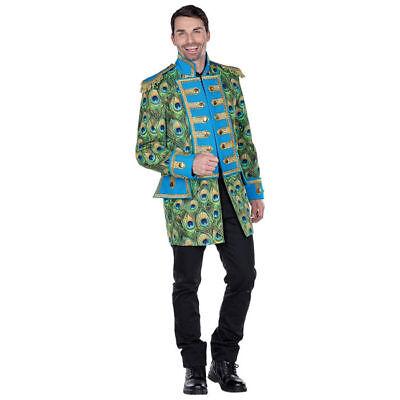 Pfauen Jacke Kostüm für Herren mit tollem Federmuster und schönen (Pfau Kostüm Für Herren)