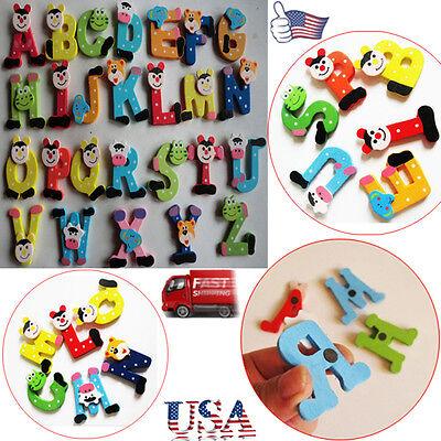 Baby 26PCS Letters Kids Wooden Cartoon Alphabet Fridge Magnet Educational Toy US