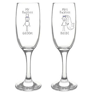 Personalised champagne wine flute glasses mr and mrs funky - Funky champagne flutes ...