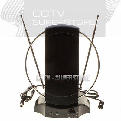 Indoor Uhf Hdtv - Amplified Indoor HDTV Antenna Power HIGH GAIN 36dB UHF VHF FM Digital TV
