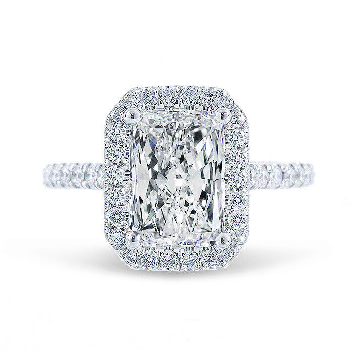 18K WG 1.80 Ctw Radiant Cut Diamond Eternity Halo Engagement Ring H,VS2 GIA