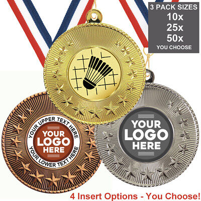 BADMINTON METAL MEDALS 50mm, PACK OF 10, RIBBONS INSERTS or OWN LOGO WITH TEXT ()