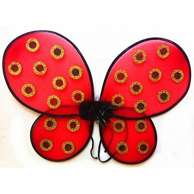 Black And Red Fairy Wings (New Fantasy Adult Red Lady Bug Women and Kids Dress up Costume)