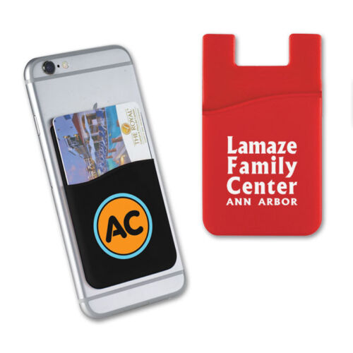 SILICONE PHONE WALLETS, 1 POCKET - 250 quantity - Custom Printed with Your Logo