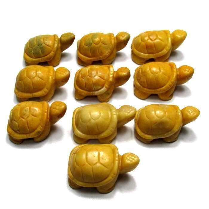"""Lot of 10 Pieces of 2"""" Yellow Jasper Turtle Handmade Stone Carving"""