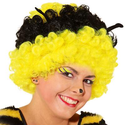 Bienen Perücke mit Fühlern, schwarz-gelbe Afrofrisur für Karneval und co