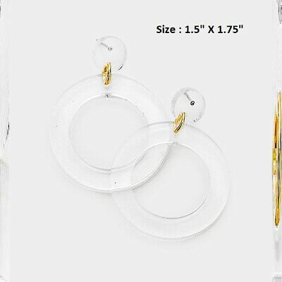Open Hoop Circle Clear Gold Lucite Drop Post Pierced Disc Earrings Statement NEW Open Disc Drop