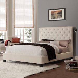 Ravishing New Beige Fabric Queen Bed Frame + Mattress Combo
