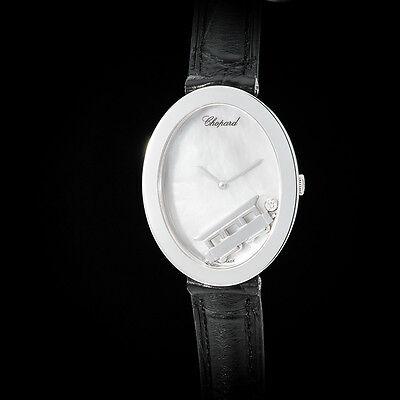 Chopard 18K WG Happy Diamond Spirit Oval Ladies Watch w/ Floating Train. Rare