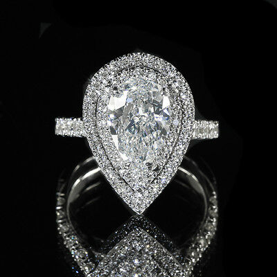2.63ct GIA Pear 18K Double Halo Diamond Pave Engagement Ring I/VS2 (13544863)