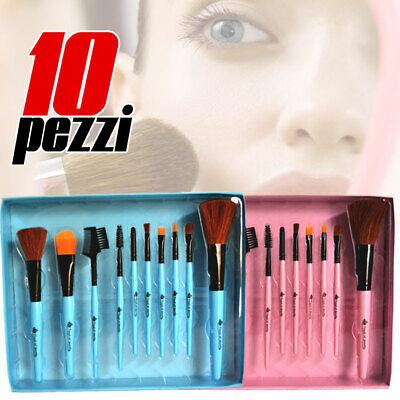 Pennelli Trucco Make Up Professionali Setole Lisce 10 Pezzi In PVC Box