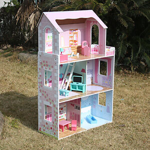 New GIRLS Pink DAISY Wooden 116CM Pretend PLAY DOLLS HOUSE FULL FURNITURE BARBIE