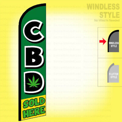 Cbd Sold Here - Windless Swooper Flag 2.5x11.5 Ft Feather Banner Sign Gf