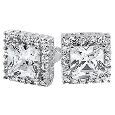 Lab Simulated Diamond Unisex Square Cushion Cut Sterling Silver Earrings
