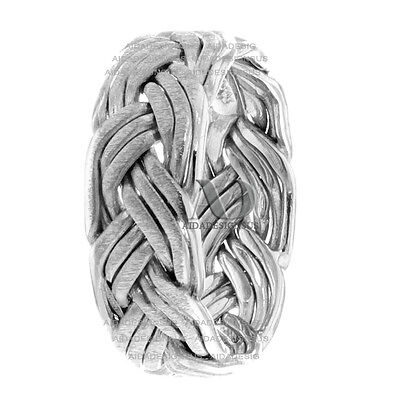 All Hand Braided Solid 14K White Gold 7mm Wide His / Hers Wedding Band Ring ()