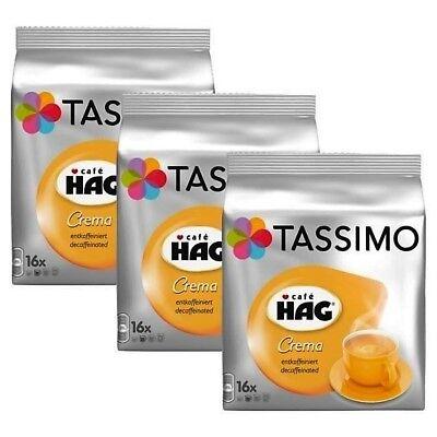 3 x Packs Tassimo Cafe HAG Crema Decaffeinated T Discs Pods - 48 Decaf Drinks