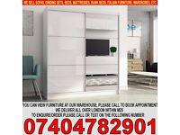 BRAND NEW 2 Door Sliding mirror wardrob with High Gloss Black/White Finish