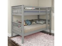 🌷💚🌷STOCK CLEARANCE🌷💚🌷HIGH QUALITY SINGLE WOODEN BUNK BED -- WHITE , GREY AND PINE COLOURS
