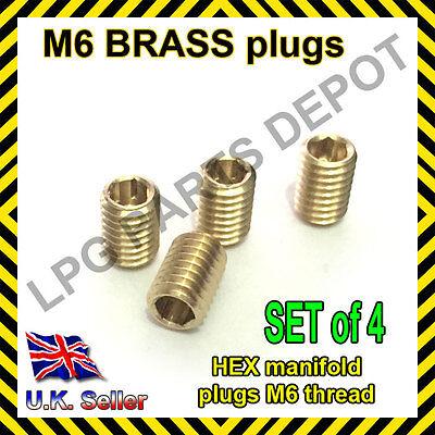 M6 plug brass manifold seal holes threaded HEX stop leak SET of 4