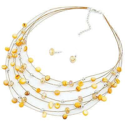 Yellow Fashion Chic Beed Multi Strand Necklace and Drop/Dangle Earring Set - Beed Necklace