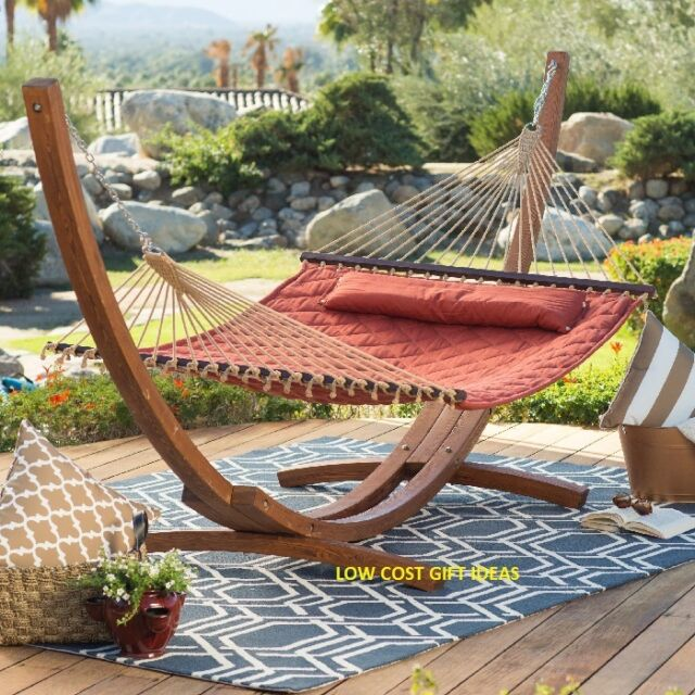 Quilted Double Hammock Bed 2 Person Outdoor Hanging Patio Deck Porch Tree  Yard - Quilted Double Hammock Bed 2 Person Outdoor Hanging Patio Deck