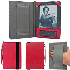 Kindle Keyboard 3, 3G, Wifi Hand Strap Case Red Leather Cover + Screen Guard