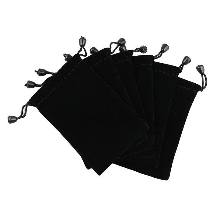 New 6 Pouches Black Velvet Drawstring Jewelry Gift Phone Holder Packet Bags 5