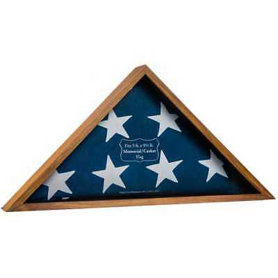 Memorial Wooden Triangle Box Wooden Oak Military Flag Display Case NIB.