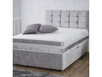 Special crushed velvet bed with base and headboard